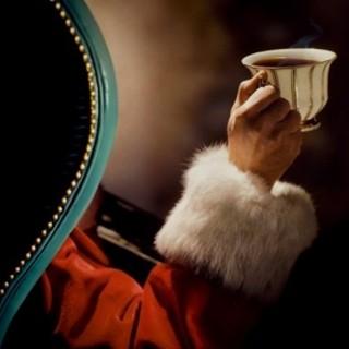 santa drinking